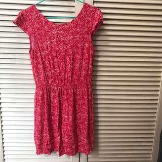 Mango 紅色碎花裙 連身裙 斯文裙