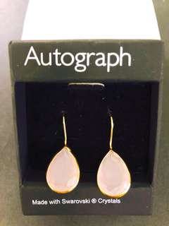 Marks and Spencer's earrings with Swarovski crystal pink ear studs 耳環 水晶 耳釘 連包裝