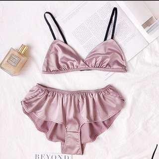 ccc3821f3d82c Sexy Women Silks Satin Bra Underwear wireless triangle cup bralette Girl  Thin Lingerie Waves Panty Silks