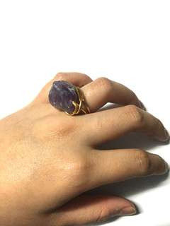 Amethyst Raw wire wrapped ring