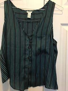 Green and black stripped tank top with tulip back