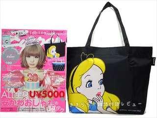 Disney Alice in woderland 愛麗斯 防水 雙面不同圖案 單膊/手挽袋 (Tote Bag) ~ 🇯🇵日本雜誌附錄袋