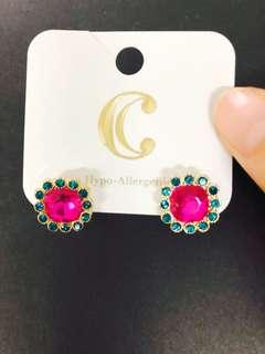 閃石耳環 花花耳釘 彩色首飾 禮物 rhinestone earrings ear studs jewelry