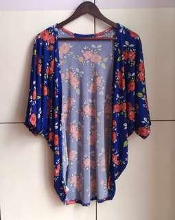 Blue Floral Kimono Cardigan