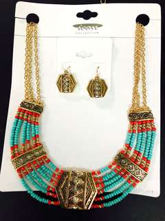 Jewellery set ethnic necklace beaded earrings 首飾套裝 頸鍊及耳環 民族風