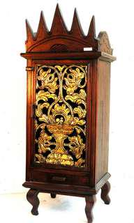 Tribal cupboard - dark wood and gold (4 feet)