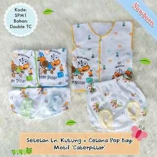 3 setelan baju newborn motif caterpilar