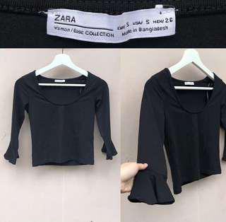 Zara Fit Black Top (semi cropped top)