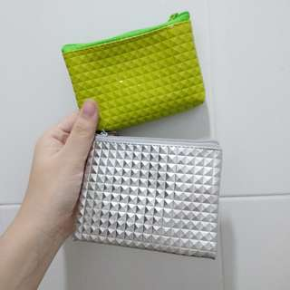 Mini Pouch Clutch Lime Green Silver / Hijau Grey Abu