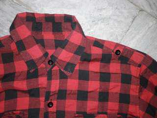 Plaid Polo checkered flannel Red longsleeves