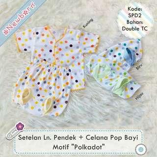 3 setelan newborn lengan pendek + celana pop motif polkadot