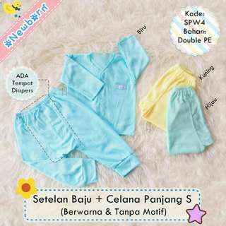3 setelan newborn baju + celana panjang diapers