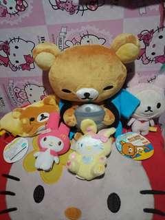stuffed toys rillakuma and hello kitty
