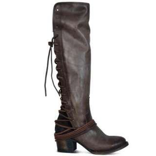 Steve Madden 後系帶長靴 拉鍊靴 仿皮靴 低跟鞋 womens faux leather boots vintage shoes EUR 38