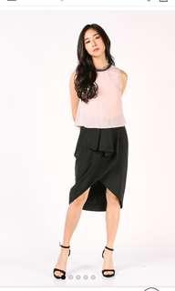 Dressabelle Front Pleat Details Skirt (Black) S