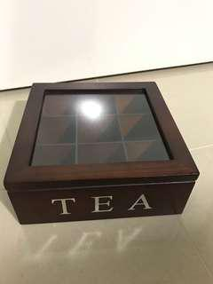 Wooden tea box storage container