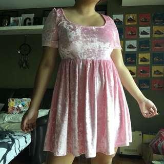 Shop Kokopie Pink Velvet Babydoll Dress