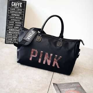Sequins PINK Letters Duffle Bag Girl Design Travel Large Capacity Luggage  Handbag Yoga Fitness Shoulder Bag 2374335705