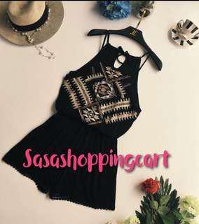 😆FREE SHIPPING* under 500g😆(White/ Black) wind seaside holiday beach embroidery diamond hanging neck high waist waist jumpsuit wide leg shorts