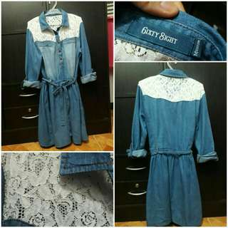 Basa po muna pls 6ixty 8ight denim with lace girly twist dress
