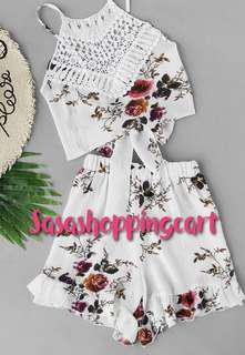 😆FREE SHIPPING* under 500g😆(White) Best selling camisole ruffled floral shorts set two-piece
