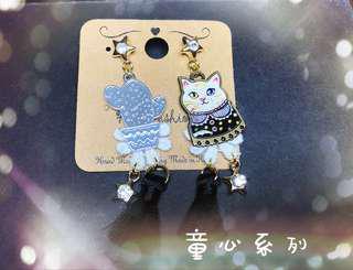 【童心系列】優雅的貓-針式耳環