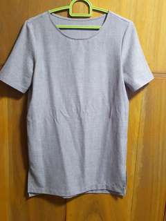 Giordano gray long office blouse