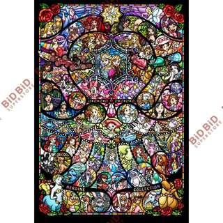 Disney 迪士尼 女主角 巾幗 大集合 迷你 透光 Jigsaw Puzzle 砌圖 拼圖 500pcs 日本製 半透明 仿彩色玻璃風格 女英雄 All Star