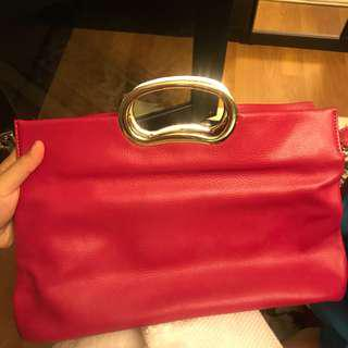 Shocking Pink Leather Crossbody/Cluth