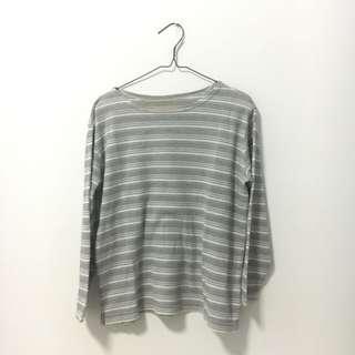 White-Grey Striped Top