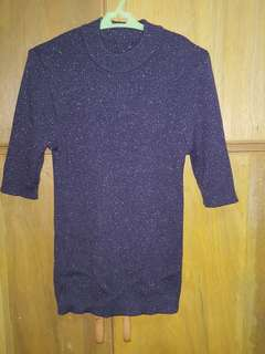 Glittery turtle neck stretchable top