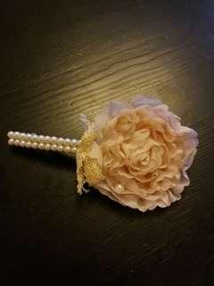 粉紅花珍珠髮夾