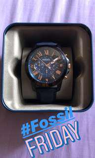 Fossil watch rose gold /blue leather strap
