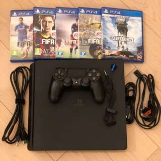 99% new Sony PlayStation 4 Slim with 5 games PS4