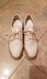 Real Leather white platform shoes