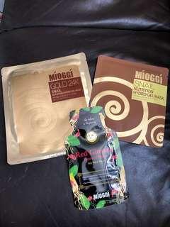 Mioggi Gold 24K gel mask+Snail gel mask+Red Ginseng essence mask