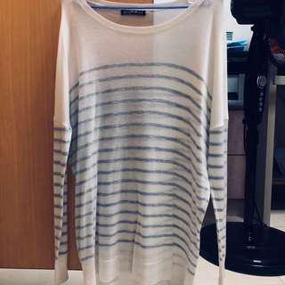 Cotton On CO Basic Plain Simple White Grey Stripe Striped Pullover Blouse