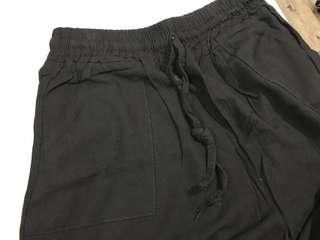二手黑色索帶七分闊褲