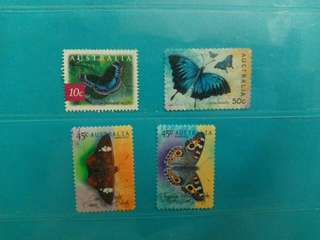 Set of 4 Australia Stamps Butterfly