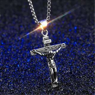 [ High Positive Rating ] Crucifix Cross Necklace Silver Plated Copper Long Chain Men Jewelry Jesus Piece Prayer Statement Pendant Necklace Jewelry God Pendant God Necklace Cross Pendant INRI Crucifix Jesus Necklace Stainless Steel [V0001_78]