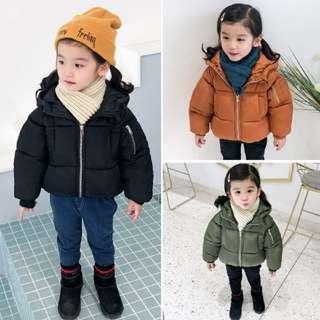 (3 Colours) Korean Style Winter Padded Jacket Hoodie Kids