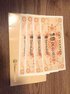 Takashimaya Gift Vouchers $10 x 4pcs