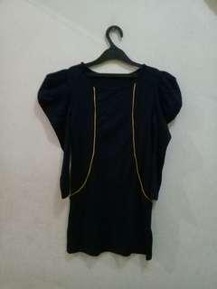 FREEONG Black bodyshaped dress with gold lines