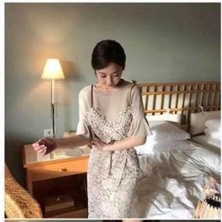 🚚 韓國 布雕花蕾絲精緻兩件式洋裝