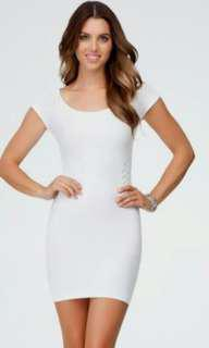 FREEONG White Bodycon Short Sleeves Dress
