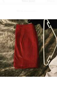 Red patent leather skirt
