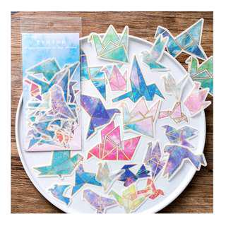 🚚 Sticker Flakes - Origami Crane (Galaxy and jewelled tones)