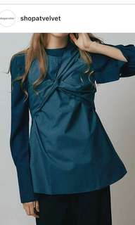 🚚 Shopatvelvet blue tie front ribbon top