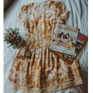 Printed Nude Orange Short Sleeves Short Cute Baby Doll Dress ( office work dress / smart casual style attire / summer wear) - New Camp ( DUBAI BRAND)