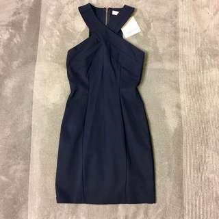Navy Blue Halter-neck Dress